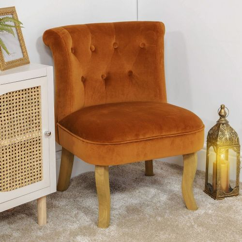 Burnt Orange Button Back Ocassional Chair - Ochre Velvet lounge bedroom side chair